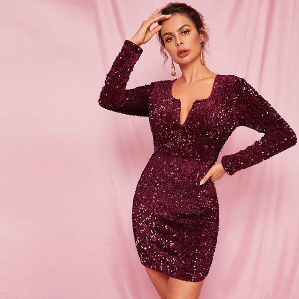 Notched Neck Zip Back Sequin Bodycon Dress, Burgundy