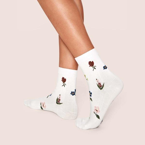 1pair Floral Graphic Socks, White