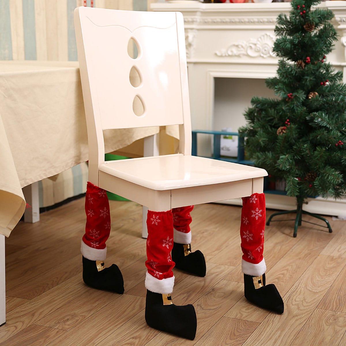 4-delige kerststoel beenhoes