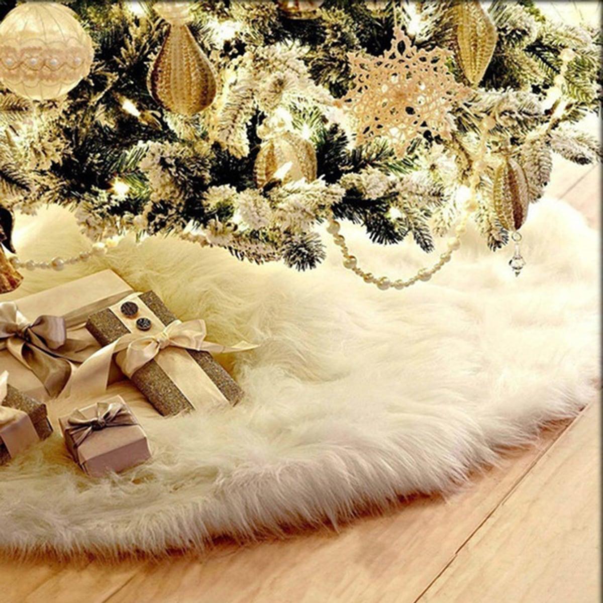 Effen pluche kerstboomrok