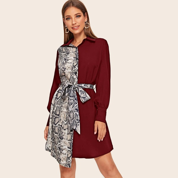 Two Tone Snakeskin Print Self Tie Shirt Dress, Burgundy
