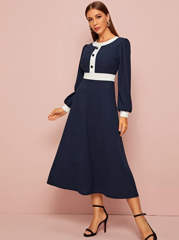 Contrast Panel Covered Button Fit And Flare Dress, Navy, Hanna