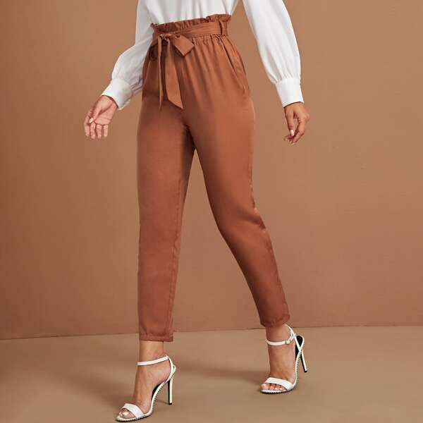 Self Tie Paperbag Tailored Pants, Brown