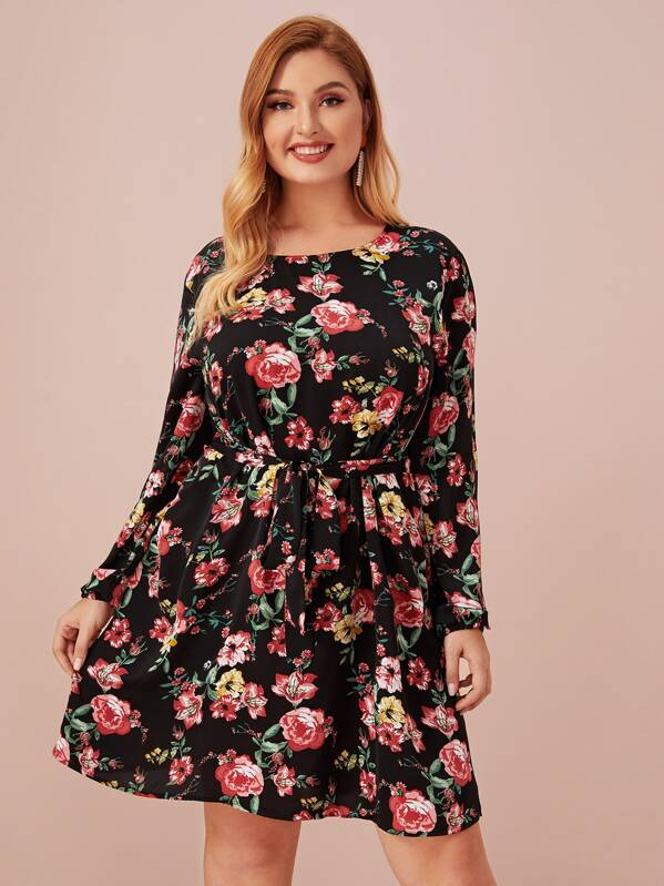Plus Floral Print Tie Front Dress, Multicolor, Nora