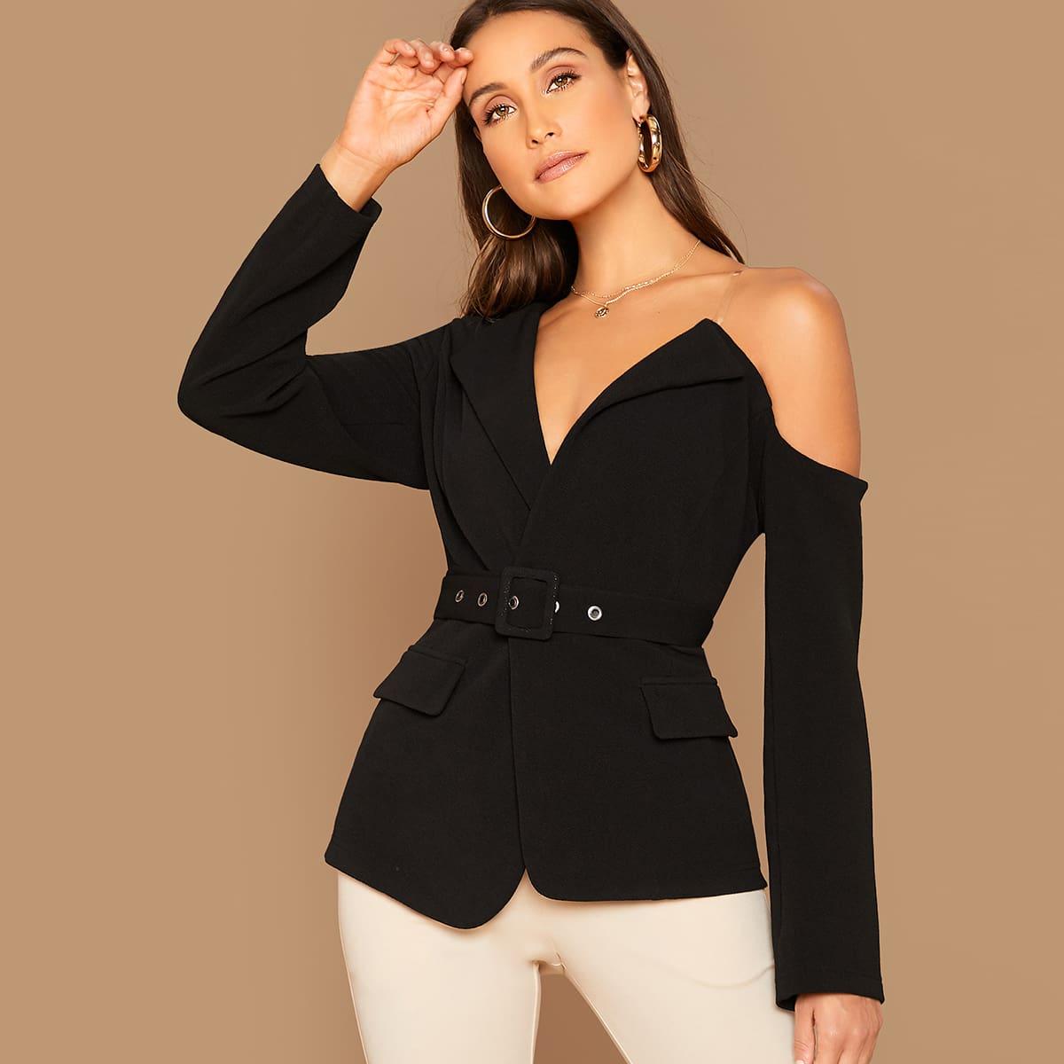 Асимметричный пиджак с поясом от SHEIN