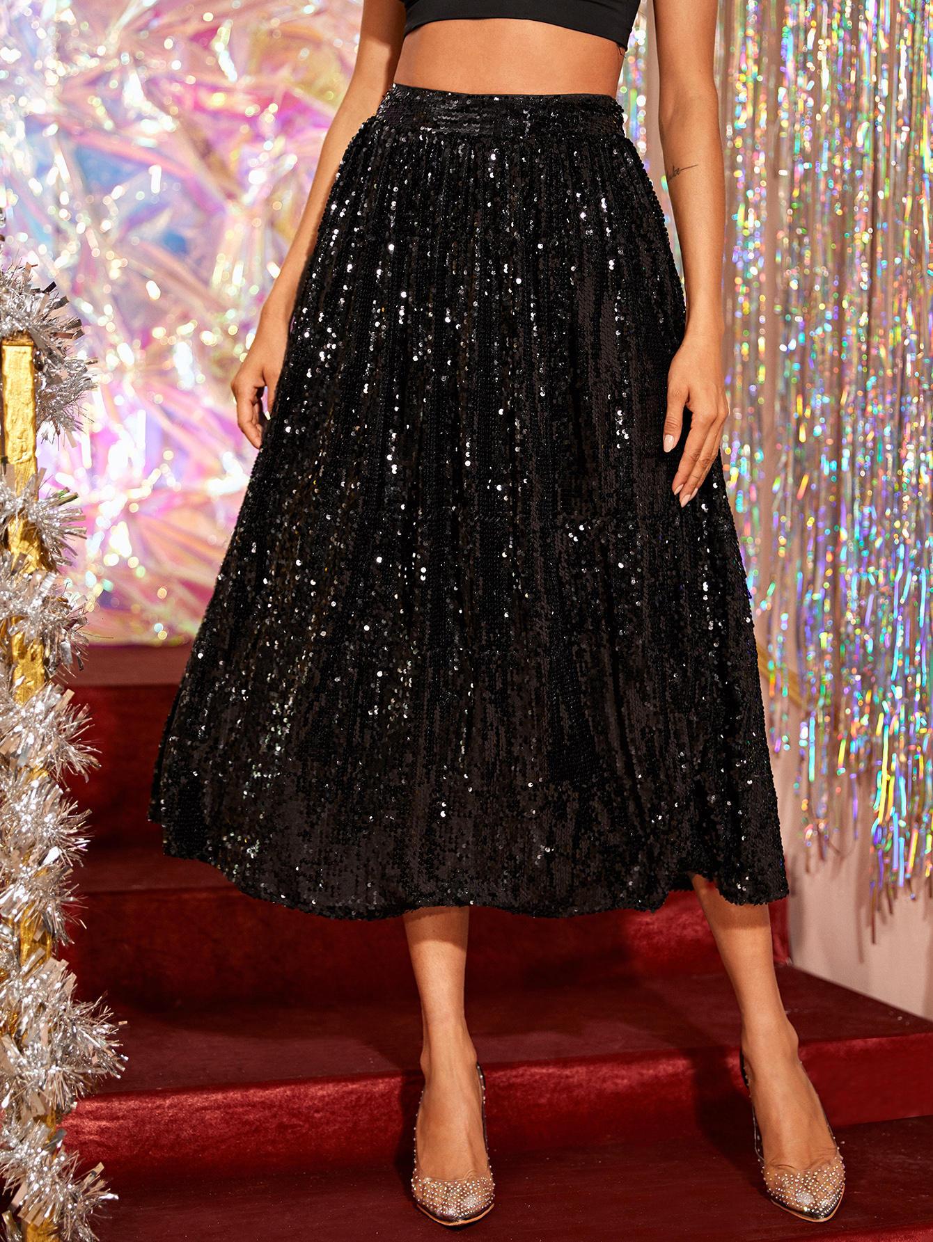 Расклешенная юбка с эластичной талией и блестками