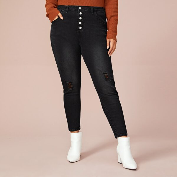 Plus Ripped Button Front Skinny Jeans, Black