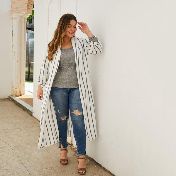 Plus Vertical Striped Self Tie Split Duster Coat, White