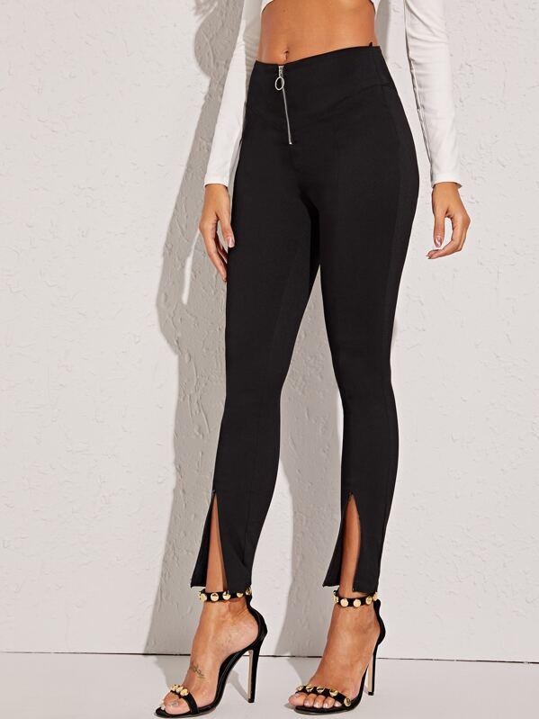 V Cut Hem O-ring Zip Skinny Jeans, Black, Giulia