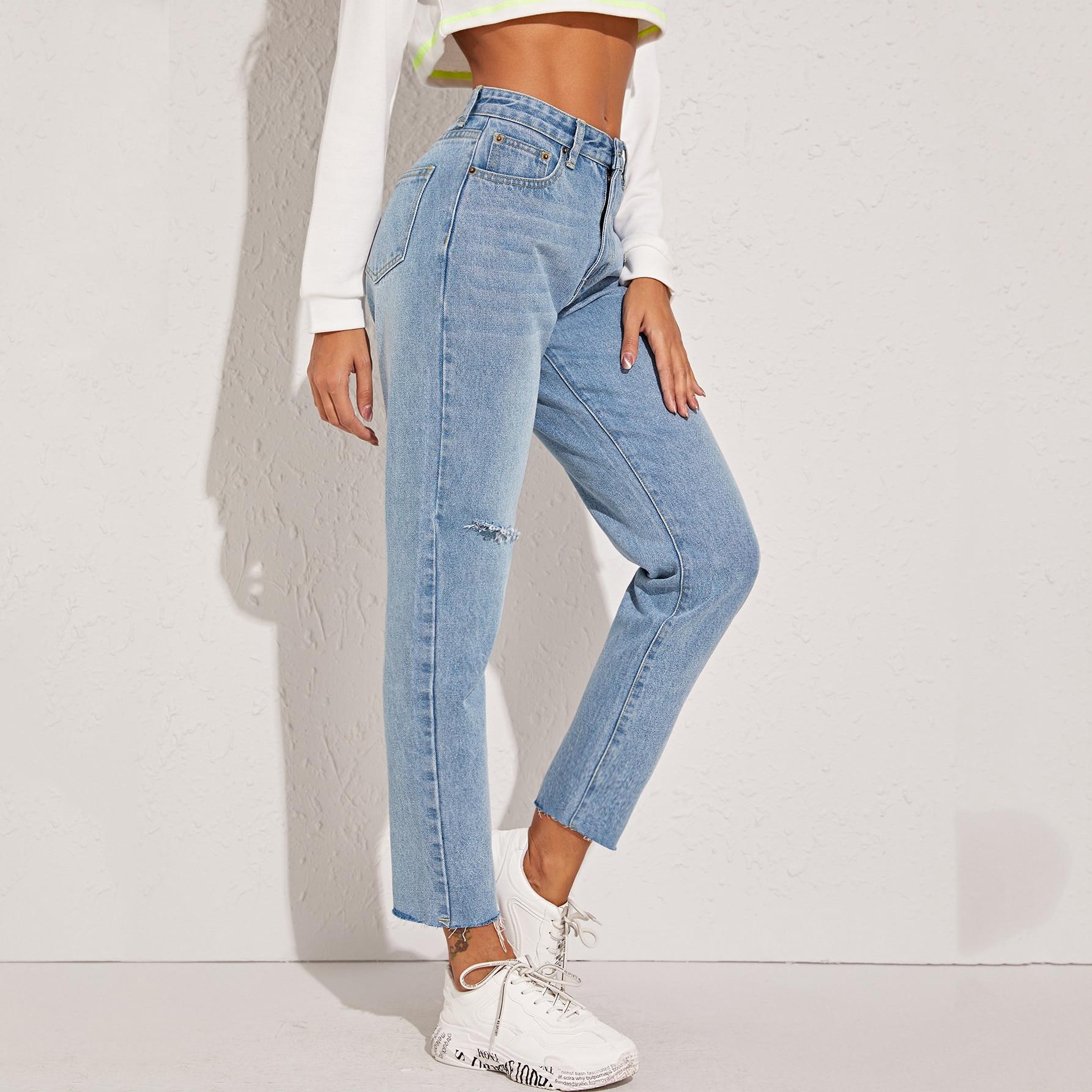 Рваные джинсы с необработанным низом