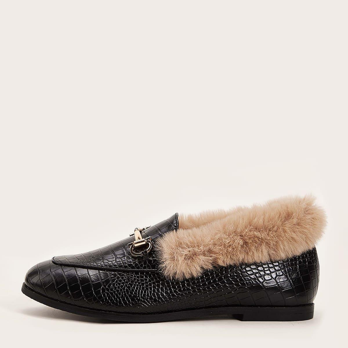 Zwart Comfortabel Krokodil Ballerina's