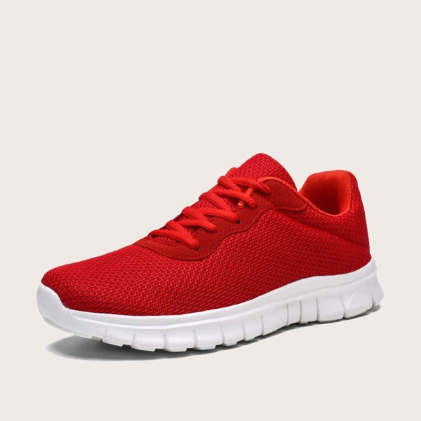Men Two Tone Lace-up Sneakers, Red