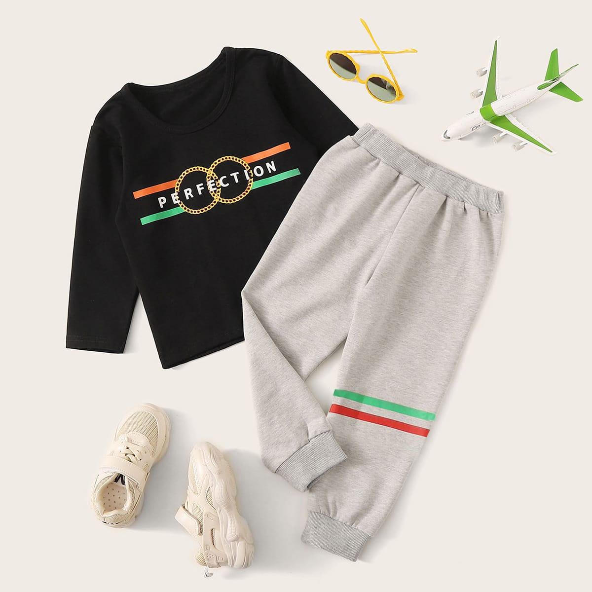 Спортивные брюки и футболка с текстовым принтом для мальчиков от SHEIN