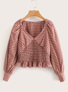 Ruffle Hem Shirred Waist Gingham Blouse