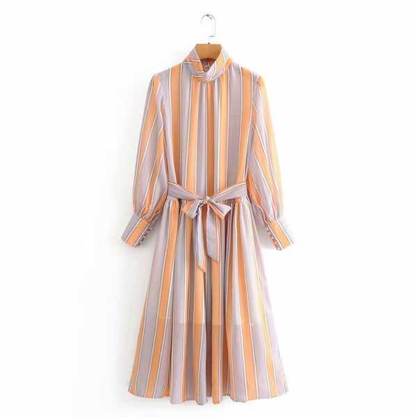 Striped Stand Neck Self Tie A-line Dress, Multicolor