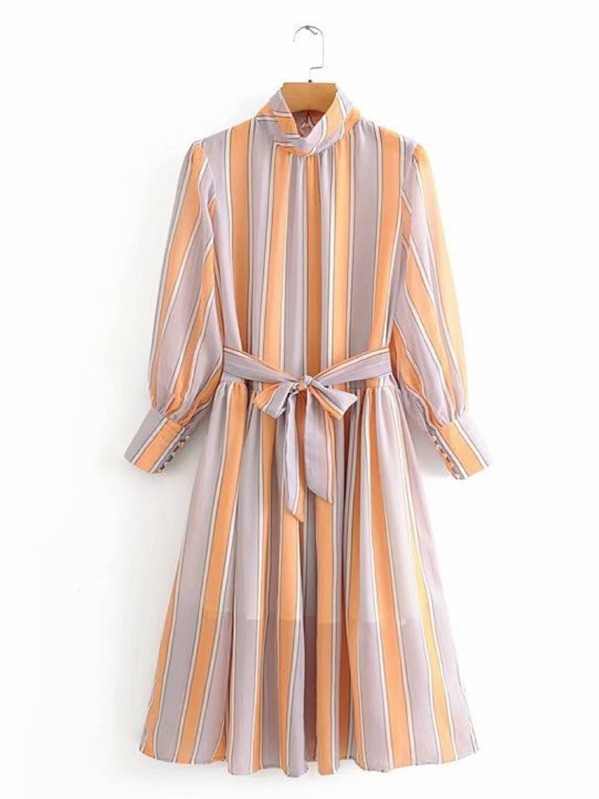 Striped Stand Neck Self Tie A-line Dress