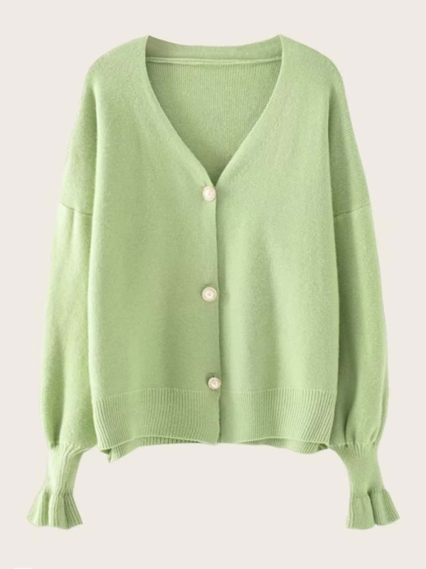 V-Neck Flounce Sleeve Button Front Cardigan