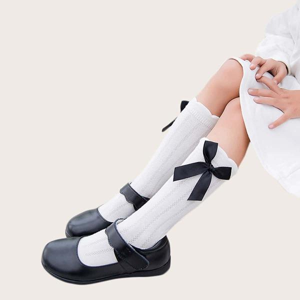 1pair Toddler Girls Bow Knot Decor Knee Length Socks, White