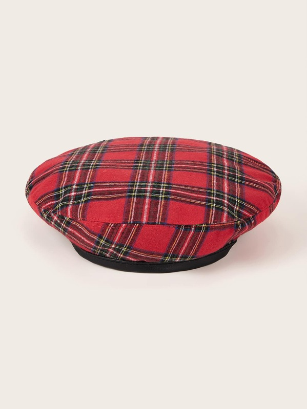 Christmas Plaid Pattern Beret, Red