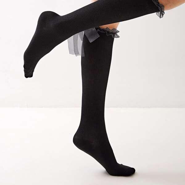 1pair Mesh Bow Knot Decor Knee Length Socks, Black