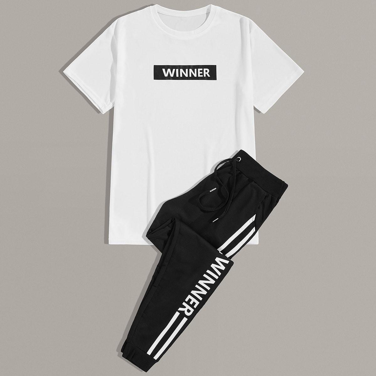 Мужские спортивные брюки и футболка с текстовым принтом от SHEIN