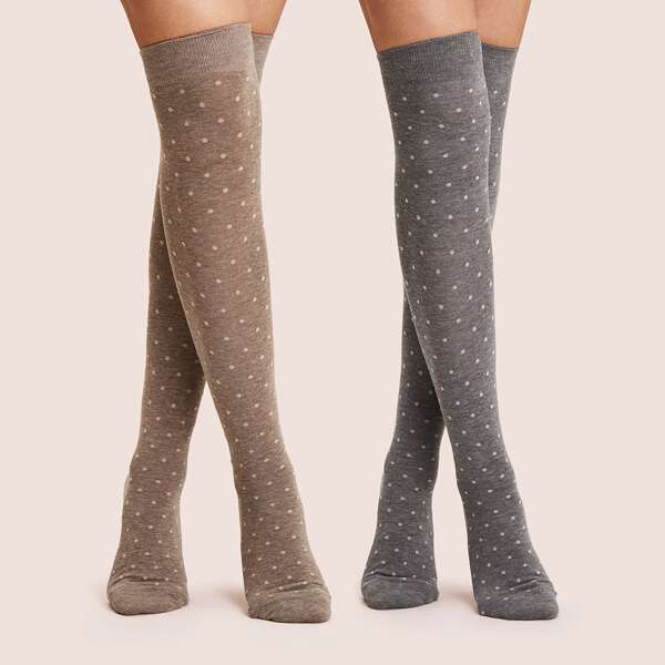 2pairs Polka Dot Pattern Knee Length Socks, Multicolor