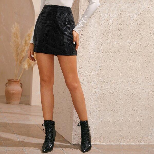 Crocodile Print Zip Back PU Skirt, Black