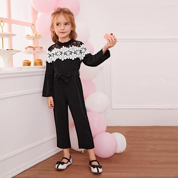 Toddler Girls Appliques Self Tie Lace Yoke Jumpsuit, Black