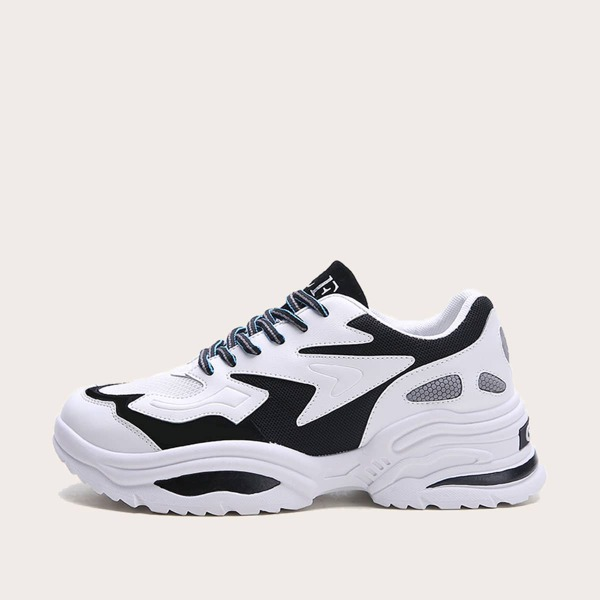 Men Two Tone Lace-up Front Chunky Sneakers, Black and white