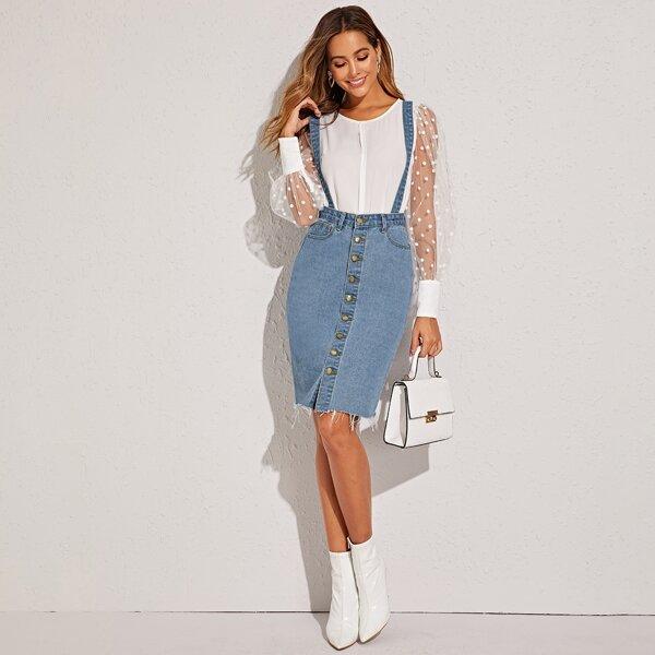 Button Front Raw Hem Pinafore Denim Skirt, Blue