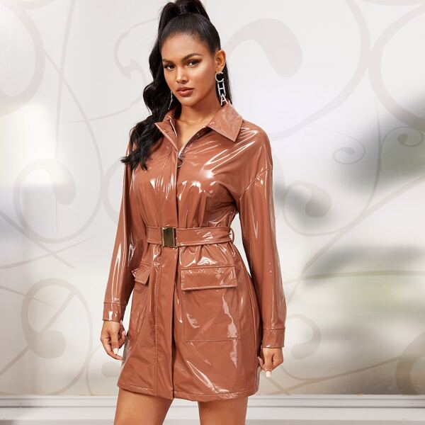 Zipper Front Flap Pocket Belted Faux Patent Dress, Camel