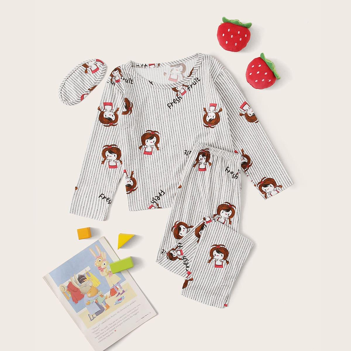Пижама с мультяшным принтом и маской для глаз от SHEIN