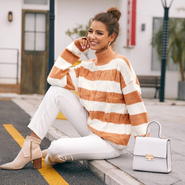 High Neck Two Tone Cable Knit Sweater, Multicolor
