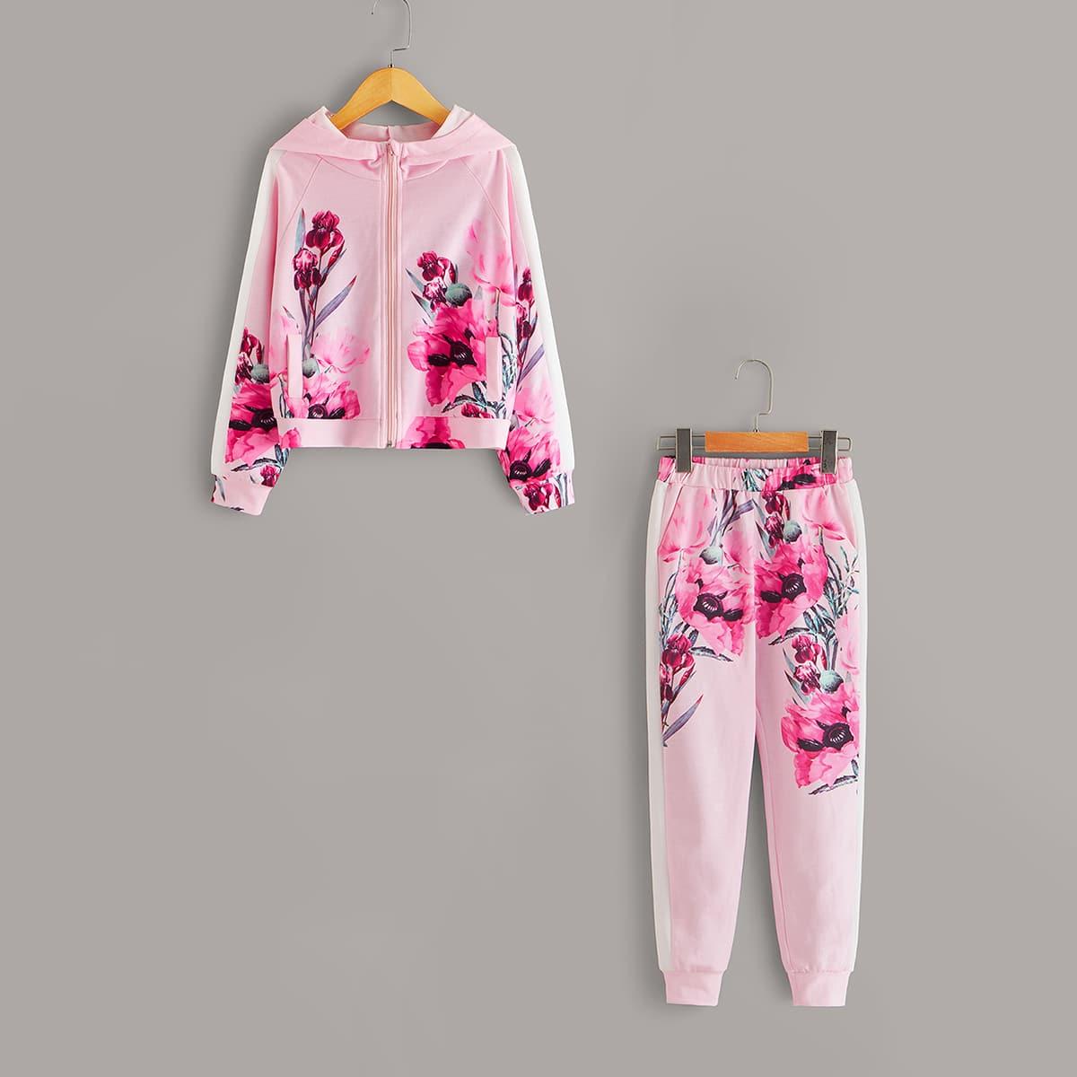 Спортивные брюки и толстовка на молнии с цветочным принтом для девочек от SHEIN