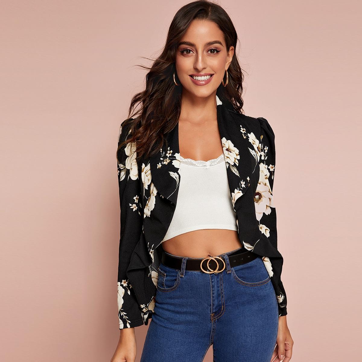 Асимметричный цветочный пиджак с оборками от SHEIN