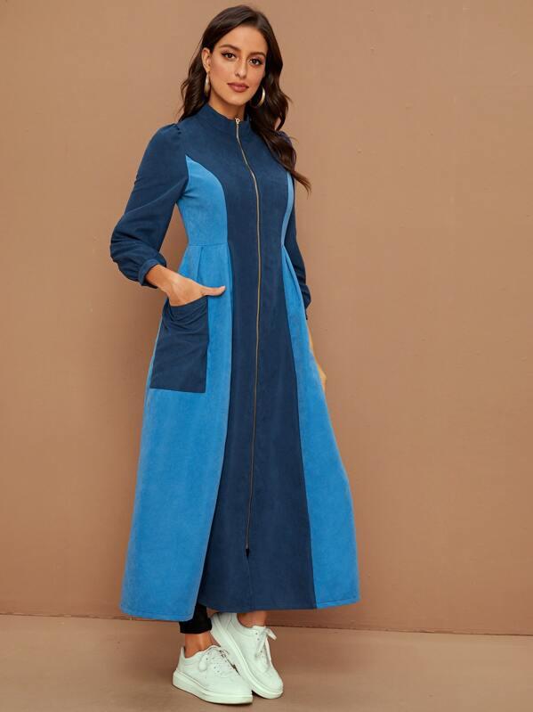 Colorblock Mock Neck Zip Up Long Coat, Multicolor, Mary P.