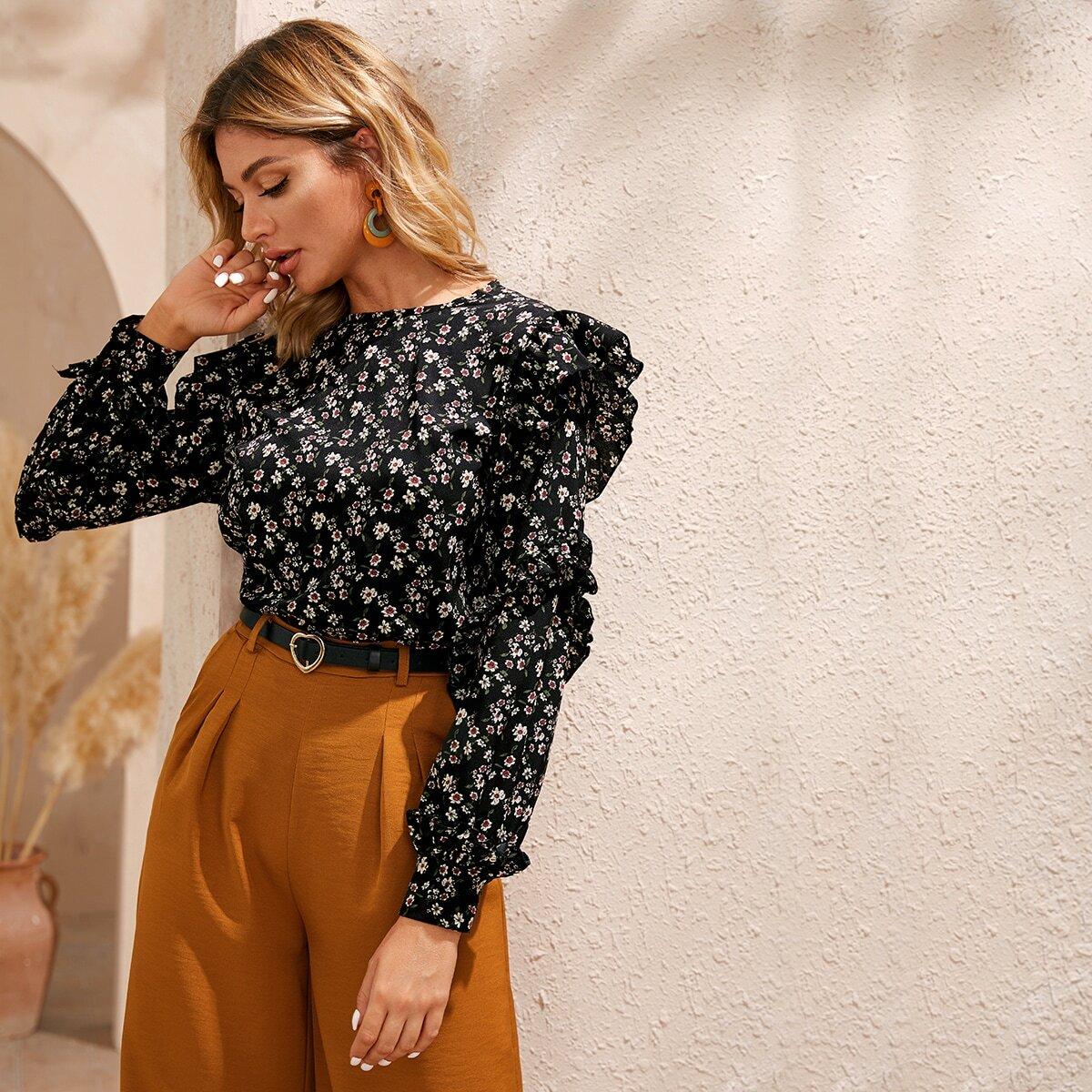 Цветочная блуза с оборками SHEIN