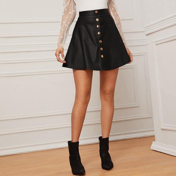 Button Detail Coated Flare Denim Skirt, Black