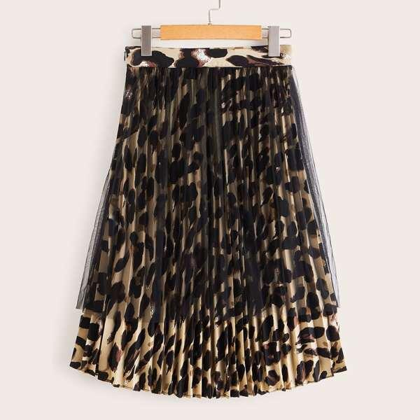 Mesh Overlay Leopard Print Pleated Skirt