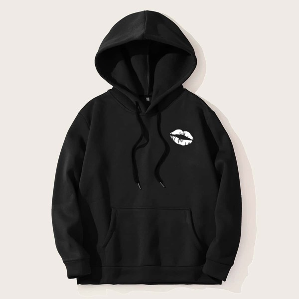 Men Lip Print Drawstring Hooded Sweatshirt, Black