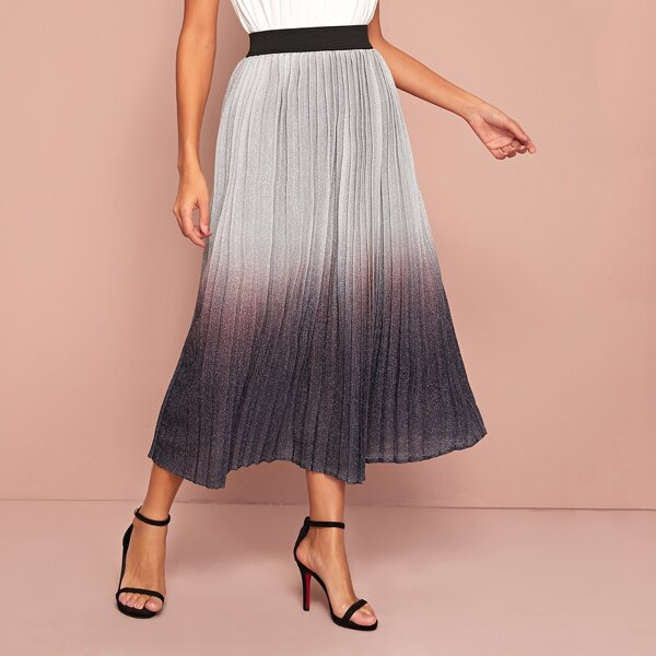 Contrast Wide Waistband Ombre Glitter Pleated Skirt