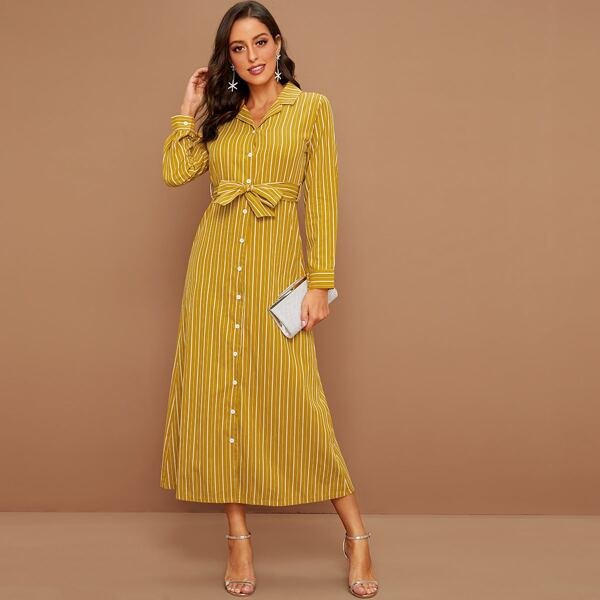 Striped Self Tie Shirt Dress, Yellow