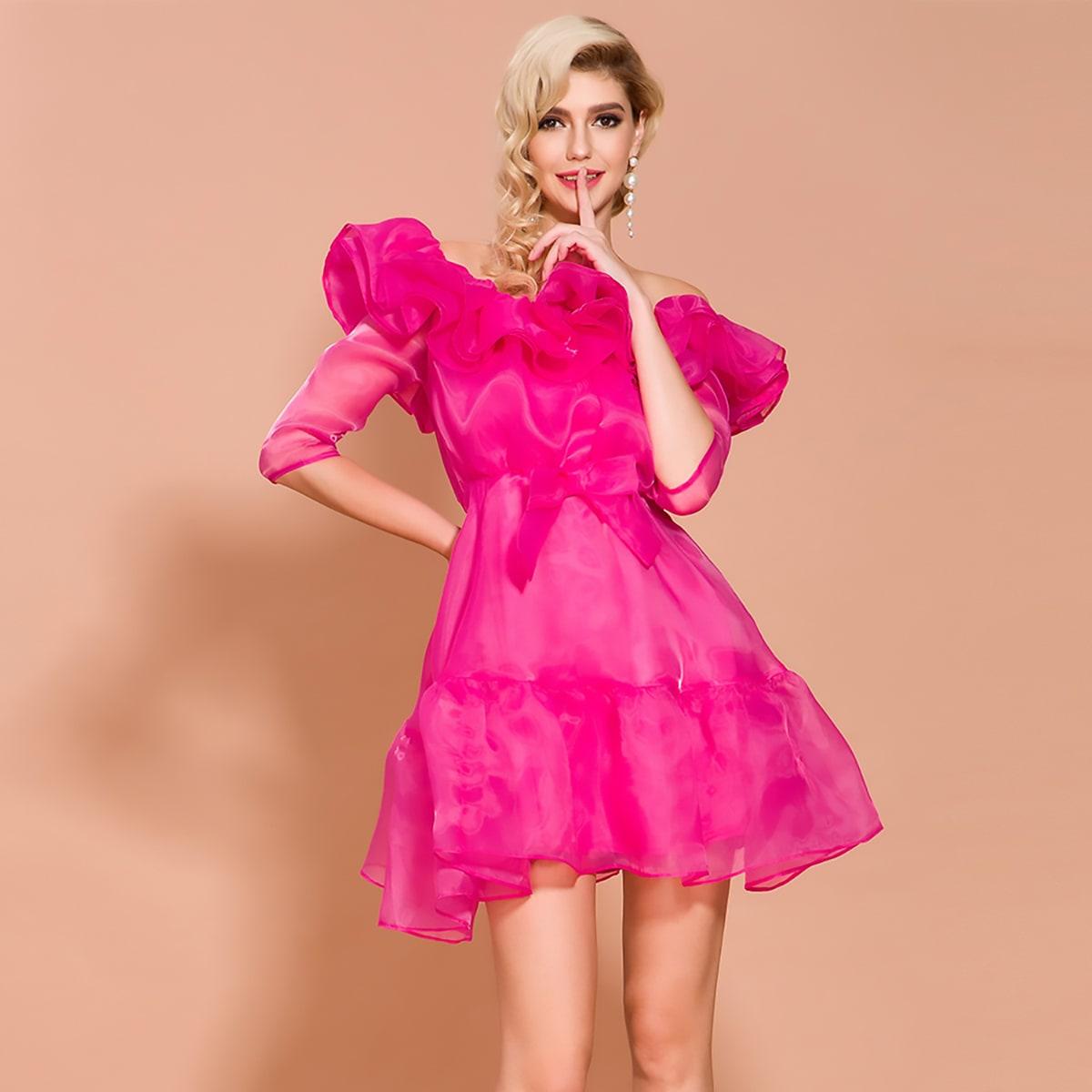 Missord неоновое розовое платье из органзы с бантом