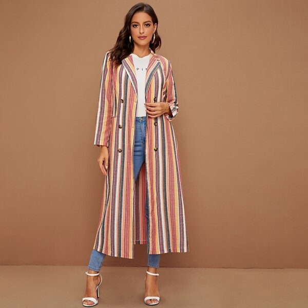 Multi-Striped Double Button Self Tie Coat, Multicolor