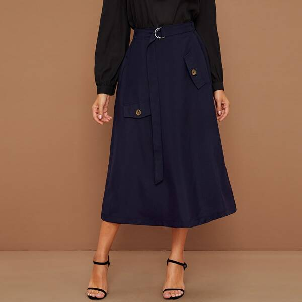 Button Detail Belted A-line Skirt, Navy