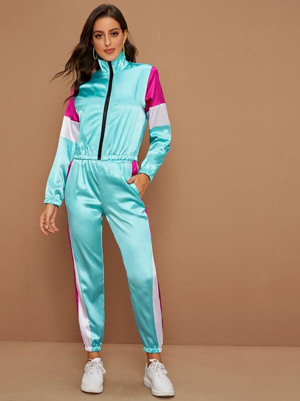 Contrast Panel Zip Up Satin Jacket With Sweatpants, Blue, Mary P.