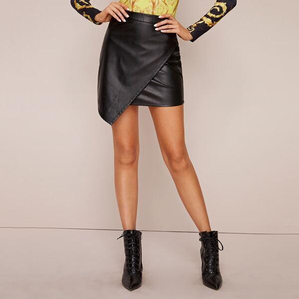 Wrap Asymmetrical Hem PU Skirt, Black