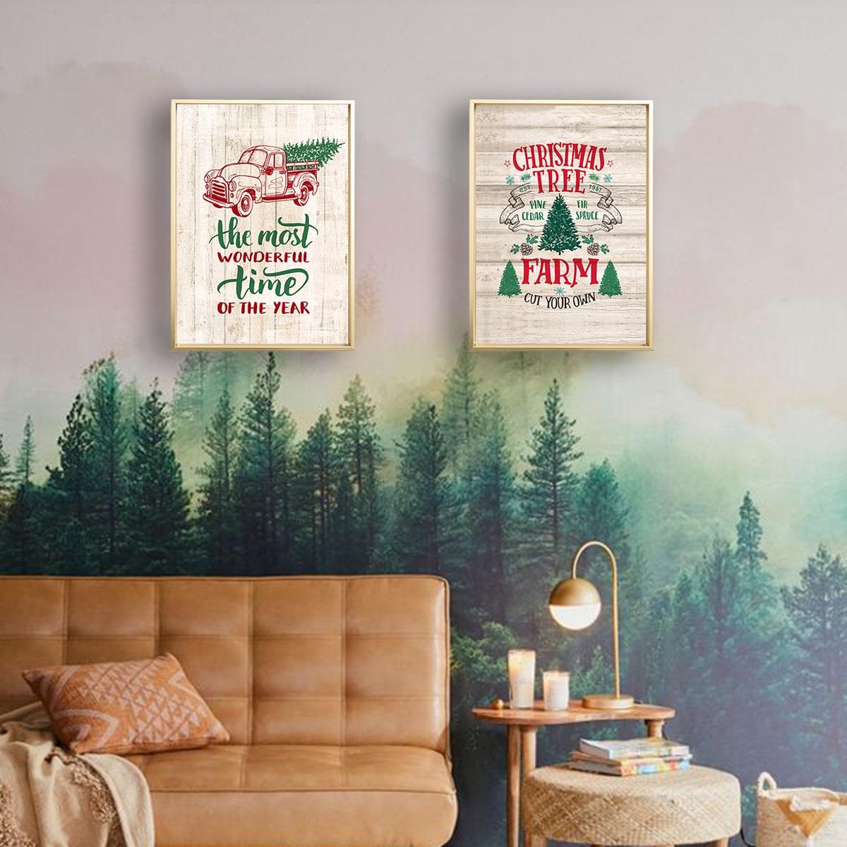 1pc Christmas Wall Art Print zonder lijst