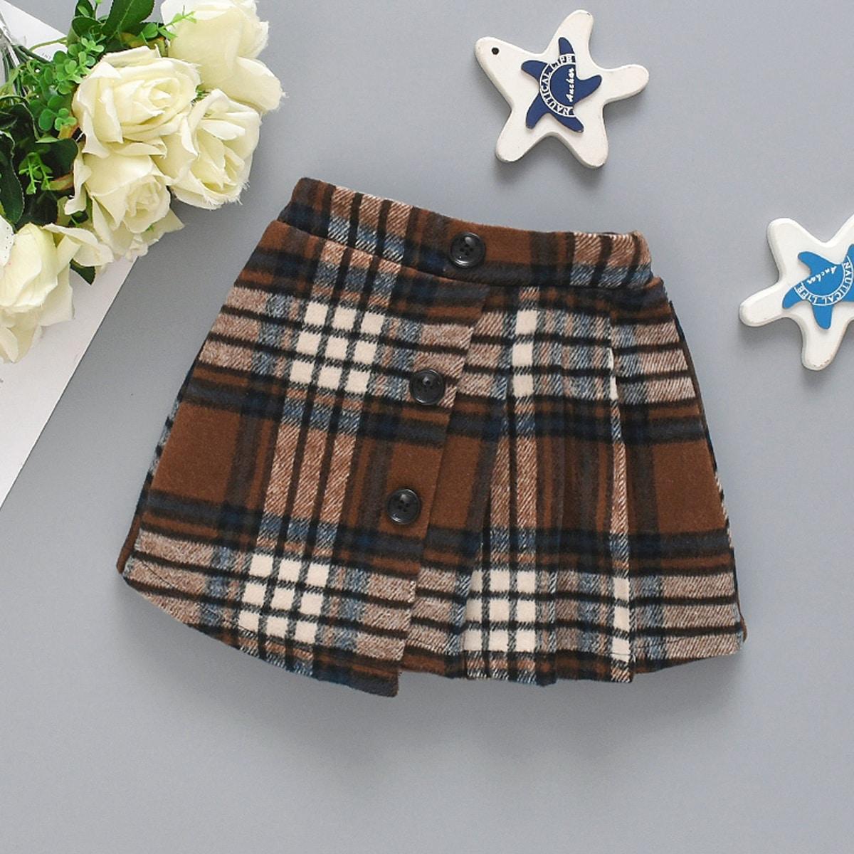 Твидовая юбка в клетку с пуговицами для девочек от SHEIN