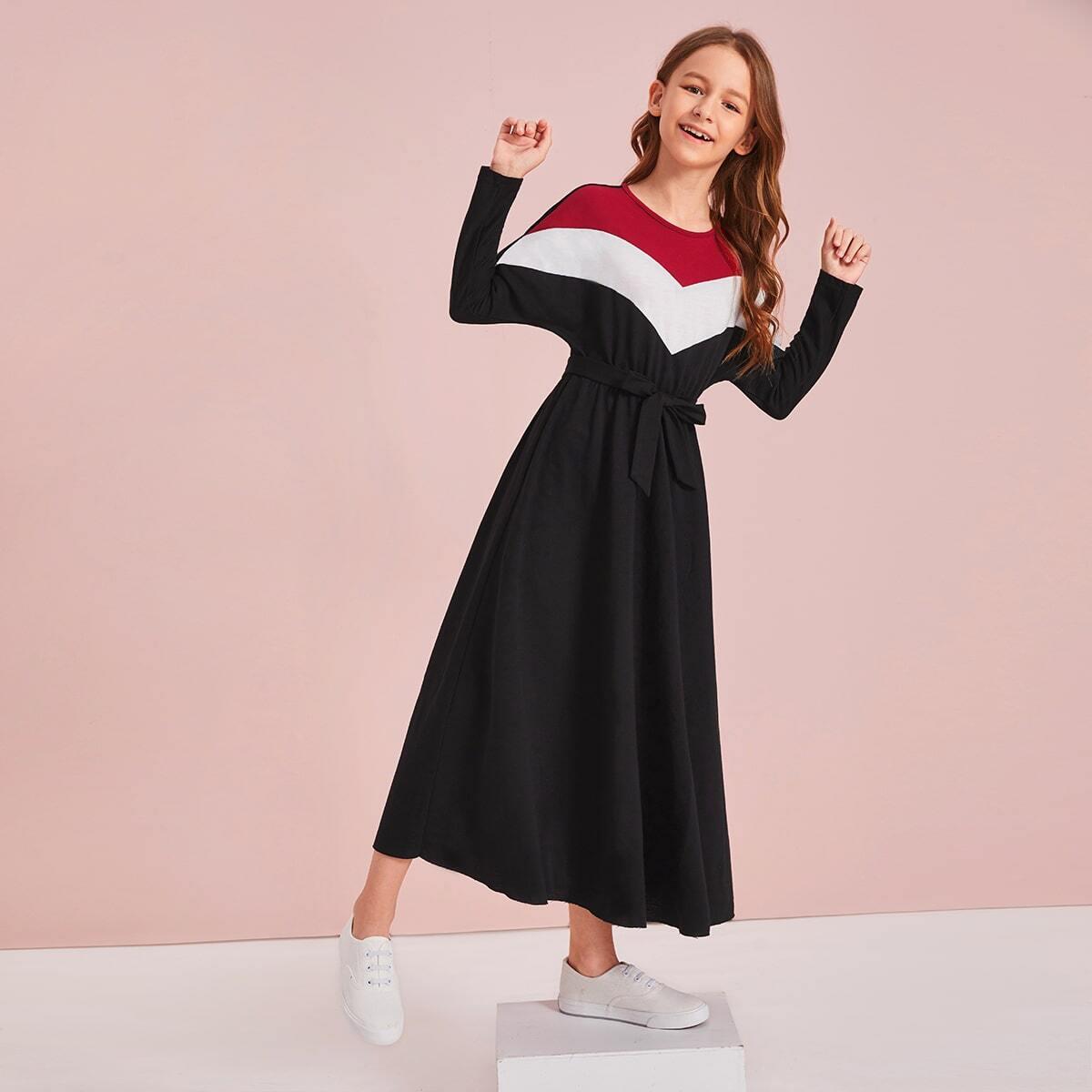 Контрастное платье с поясом для девочек от SHEIN